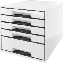 Ablagebox Cube 5 Schubladen, weiß, mit Auszugstopp und transparentem