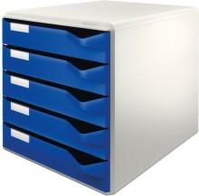 Ablagebox lgrau/blau 5 Schübe geschlossen, stapelbar,