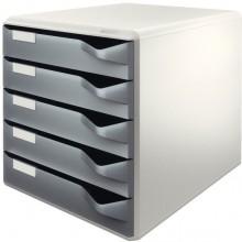 Ablagebox, lgrau/dgrau 5 Schübe geschlossen, stapelbar,