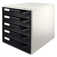 Ablagebox schwarz 5 Schübe geschlossen, stapelbar,