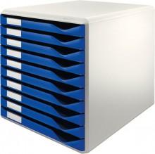 Leitz Schubladenbox lgrau/blau A4 10 Schübe geschlossen