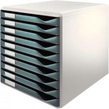 Leitz Schubladenbox lgrau/dgrau A4 10 Schübe geschlossen