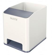 Leitz WOW Sound Stifteköcher Duo Colour weiß, verstärkt den Sound des Smartphone