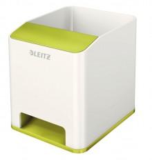Leitz WOW Sound Stifteköcher Duo Colour grün metallic, verstärkt den Sound Ihres Smartphones