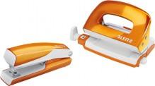Locher/Hefter WOW Set Mini orangemetallic, Stanzleistung 10 Blatt,