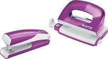Leitz WOW Locher/Hefter Set Mini Violett Metallic, Metall