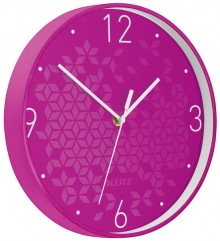 Wanduhr WOW, Ø 30 cm, pink, Quartzlaufwerk, Glasfront, gut