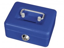Geldkassette mit Münzeinwurf blau 12,5x10,5x6,1cm