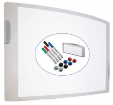 Whiteboard MAULconvex 90/120cm gr incl 4 Marker Tafelwischer 8 Magnet
