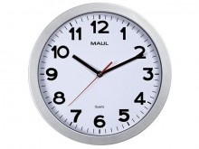 Uhr MAULstep 30 Quarzuhr silber Wanduhr Kunststoff Rahmen Ø 30cm