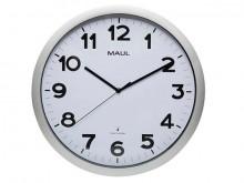 Uhr MAULstep 40RC Funkuhr silber Wanduhr Kunststoff Rahmen Ø 40cm