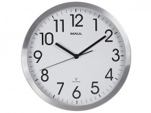 Uhr MAULmove 30RC Funkuhr silber Wanduhr Aluminium Rahmen Ø 30,5cm
