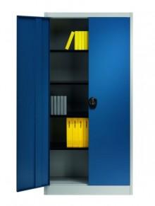Flügeltürenschrank Light Version Corpus lichtgrau Türen enzianblau