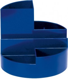 Rundbox blau 6 Fächer m. Brief- und Zettelfach Ø 14cm, Höhe 12,5cm
