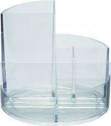 Rundbox glasklar 6 Fächer m. Brief- und Zettelfach Ø 14cm, Höhe 12,5cm