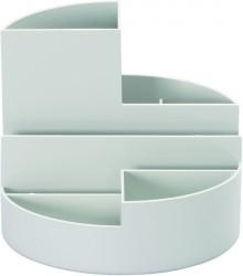 Rundbox grau 6 Fächer m. Brief- und Zettelfach Ø 14cm, Höhe 12,5cm