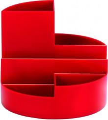 Rundbox rot 6 Fächer m. Brief- und Zettelfach Ø 14cm, Höhe 12,5cm