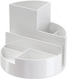 Rundbox weiß 6 Fächer m. Brief- und Zettelfach Ø 14cm, Höhe 12,5cm