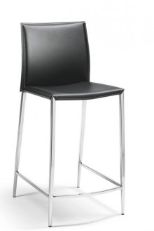 Tresenhocker Gestell Chrom, Rücken und Sitz Lederfaserstoff, schwarz