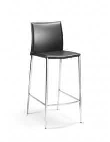 Barhocker Gestell Chrom, Rücken und Sitz Lederfaserstoff, schwarz