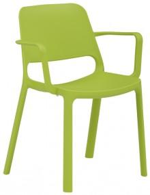 Stapelstuhl myNUKE mit Armlehnen grasgrün, 100 % PP, outdoorgeeignet