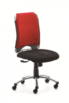 Drehstuhl SPIRIT Mikrofaserrücken rot Fußkreuz silber, Rollen für Teppich