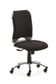 Drehstuhl SPIRIT Mikrofaserrücken schwarz, Fußkreuz silber, Rollen für