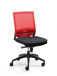 Drehstuhl Myoptimax Netzrücken/Sitz rot/schwarz, höhenverstellbare