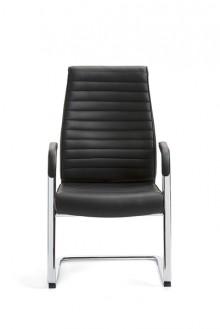 Schwingstuhl DELUXE Leder schwarz mittlerer Rücken, feste Chromarmlehnen