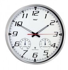 Funkwanduhr mit Thermo-/Hygrometer, Ø 34 cm, weißes Ziffernblatt