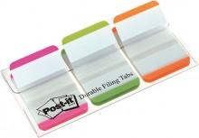 Post-it Index strong 3 Leuchtfarben 25,4x38mm, 3x22 Heftstreifen weiße