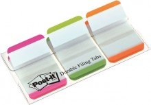 Post-it Index strong 3 Leuchtfarben 25,4x38mm, 3x22 Heftstreifen weiße