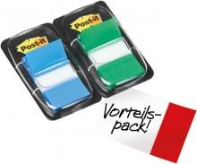 Post-it Index Haftstreifen 2 Farben 25,4x43,2mm, 2x50, grün/blau