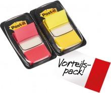 Post-it Index Haftstreifen 2 Farben 25,4x43,2mm, 2x50, gelb/rot