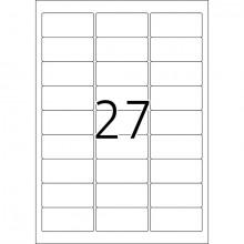 Kennzeichnungsetiketten 63,5x29,6mm ws 100 Blatt=2700 Etiketten