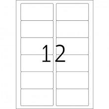 Kennzeichnungsetiketten 88,9x46,6mm ws 100 Blatt=1200 Etiketten