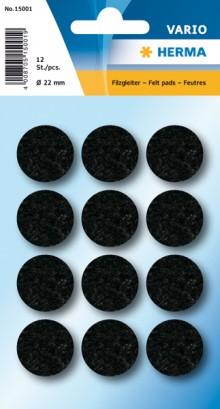 Filzgleiter schwarz 22 mm 12 St 1Pack