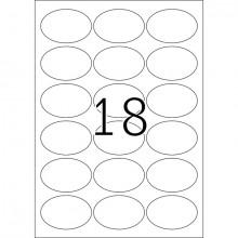 Etikett 63,5x42,3mm oval Movables A4 450Et 25Bl 18Et Bl LaserInkCopy