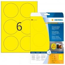 Schild 85mm rund Signal Folie gelb A4 150Et 25Bl 6Et Bl LaserCopy