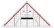 Zeichendreieck 22cm glasklar Skala rot hinterlegt 180°-1°,45°-Linie Markierte