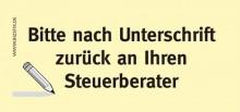 Haftnotizen 75 x 35 mm, gelb Bitte nach Unterschrift zurück an ihren Steuerberater
