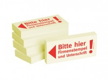 Haftnotizen 75 x 35 mm, gelb Bitte hier Firmenstempel und
