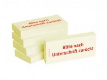 Haftnotizen 75 x 35 mm, gelb Bitte nach Unterschrift zurück