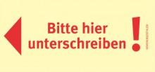 Haftnotizen 75 x 35 mm, gelb Bitte hier Unterschreiben, links