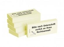 Haftnotizen 75 x 35 mm, gelb Bitte nach Unterschrift zurück an ihren Rechtsanwalt