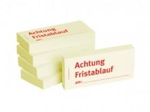 Haftnotizen 75 x 35 mm, gelb Achtung Fristablauf am