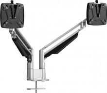 Doppelter Monitortragarm CLU DUO C Silber + Tischbefestigung,