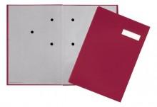 Unterschriftsmappe, rot, Einband aus Hartpappe mit