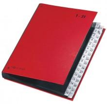 Pultordner 32tlg. 1-31 mit Color- Einband, aus Hartpappe rot,