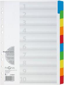 Register 10-teilig, 10-farbig farbigem Karton,